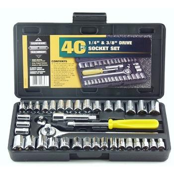 Great Neck PS040 Socket Set,  SAE & Metric ~ 40 Piece
