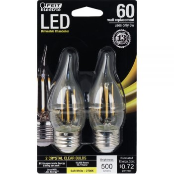Chandelier Bulbs, LED Flame Tip ~ 60W