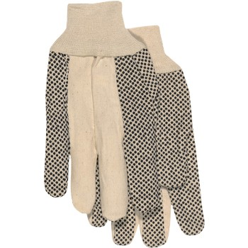 Poly/Cotton  Dotted Palm Gloves w/Knit Wrist  ~ Large