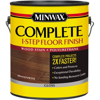 Complete 1 Step Floor Finish Wood Stain, Brandywine Gloss ~ Gallon