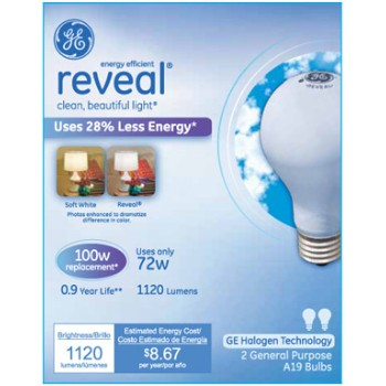 Reveal Energy Efficient Halogen Light Bulb - 72 watt/100 watt