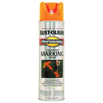 Rust-Oleum 2554838 Inverted Tip Marking Paint, Fluorescent Orange ~ 15 oz Cans