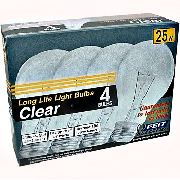 Light Bulb, Standard  Base ~ Clear 120V/25W - Pack of 4
