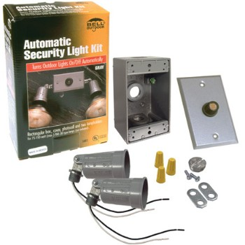 Two Light Lampholder Box Cover Photocell Kit, Gray