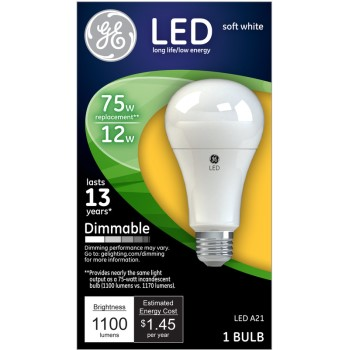 Dimmable LED Light Bulb - 12 watt/75 watt ~ Soft White