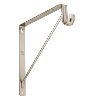 "Shelf & Rod Bracket, Satin Nickel ~ Approx 10.7"" x 1.2"" x 12.6"""