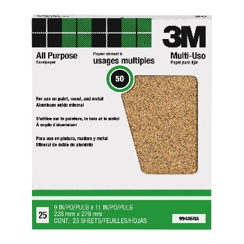 3M 051144994069 Sandpaper, Aluminum Oxide ~ 50 Grit