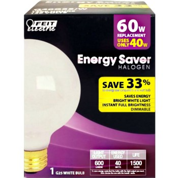 Energy Saving Hologen Globe Bulb, White ~ 40w