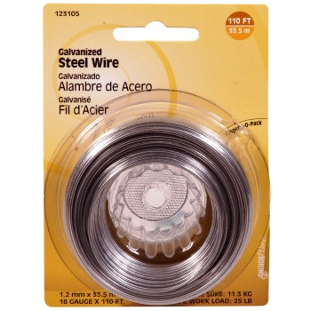 Galvanized Wire, 18 Gauge ~  110 feet