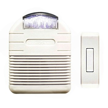 "HeathCo SL-6144 Wireless Strobe Chime, White  ~ Approx 3.5"" W x 1.75"" D x 4.625"" H"