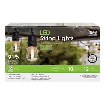 Amber Glow LED String Lights, Ten Black Sockets ~ 20 Ft
