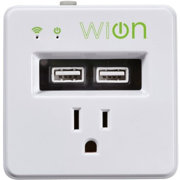 WiON Indoor Wi-Fi Single Outlet w/Dual USB Charging  Ports