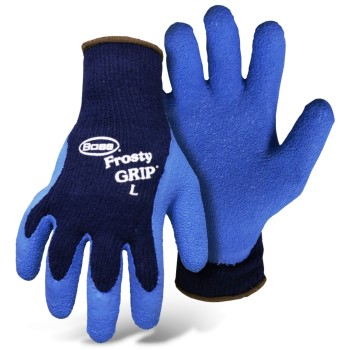 Frosty Grip Gloves,  Insulated Knit w/Latex Coated Palms Gloves ~ Large
