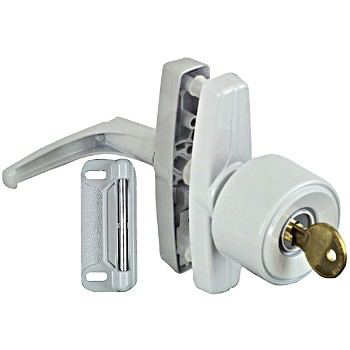 Keyed Knob Latch, Universal White