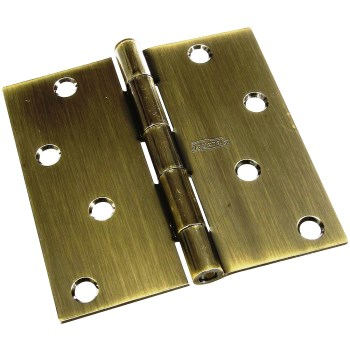 Removable Pin Door Hinge,   Antique Brass  ~  4 x 4 inches