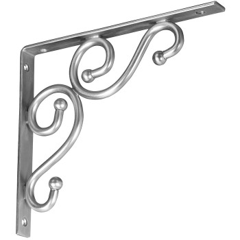 "Ornamental Shelf Bracket, Satin Nickel ~ 7"" x 8"""