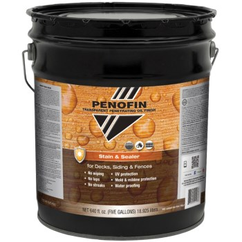 Transparent Oil  Stain & Sealer for Decks/Siding/Fences, Dark Walnut Finish ~  5 Gallon Container