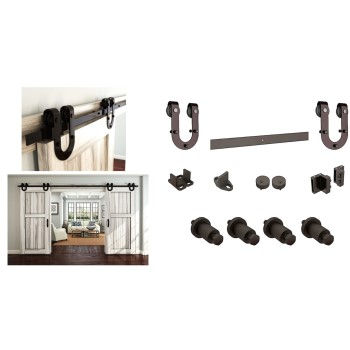 Decorative Interior  Sliding Door Hardware,  Horseshoe Series ~ Oil Rubbed Bronze