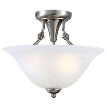 Bristol Design Series Ceiling Light Fixture, Satin Nickel ~ 2 Light