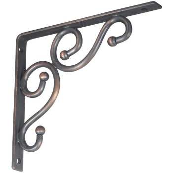 "Ornamental Shelf Bracket, Antique Bronze Finish ~ 7"" x 8"""