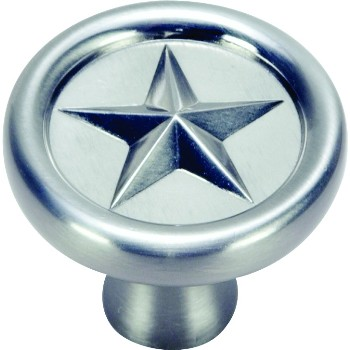 Texas Star Cabinet Knob, Satin Nickel