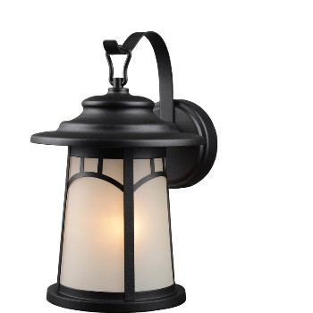 Lantern Wall Fixture w/ Frosted Glass ~ Black