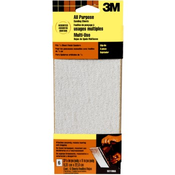 3M 05114409219 Power Sander Sanding Sheet, Assorted Grits ~ 3.66 x 9 inch
