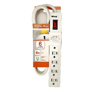 Power Strip,  Child-Proof 6 Outlet ~  4 Ft Cord