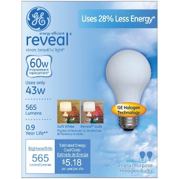 Reveal Energy Efficient Halogen Light Bulb - 43 watt/60 watt