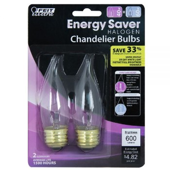Chandelier Bulb, Clear Halogen Flame Tip~40 Watt