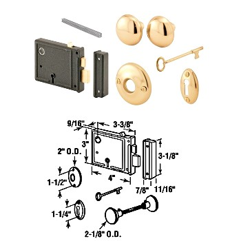 Lock Set, Horizontal Bit Key ~  Brass