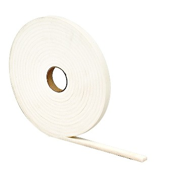 "Foam Tape - High Density, White 1/4"" x 1/2"" x 17 Ft"