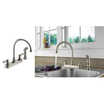 Two Handle High Arch Kitchen Faucet w/Sprayer,  Stainless Steel