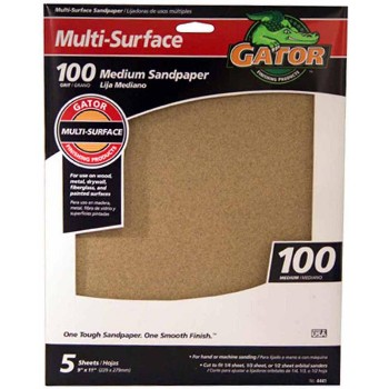 Multi Surface Sandpaper, 100 Grit ~ 9 x 11 inches