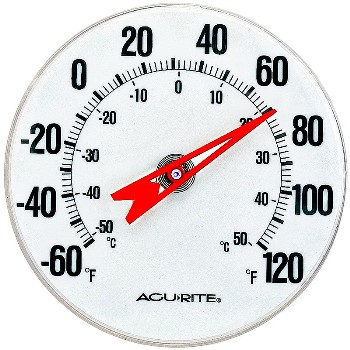 Chaney/AcuRite 00346 Thermometer ~ Dial - Indoor/Outdoor, 5""