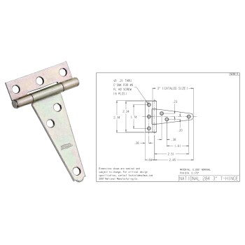 Light Duty T Hinge, Zinc ~ 3""