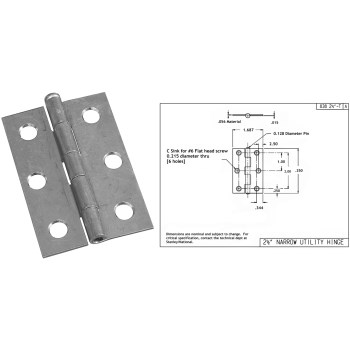 Narrow Utility Removable  Pin Hinge,  Zinc Plated Finish ~ 2-1/2""