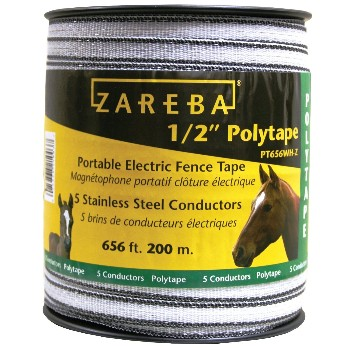 "Electric Fence Poly Tape,  White ~  1/2"" x 656'"