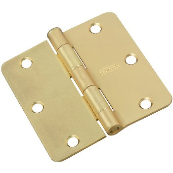 "Door Hinge, Round Corner 3.5"" ~ Satin Brass Finish"