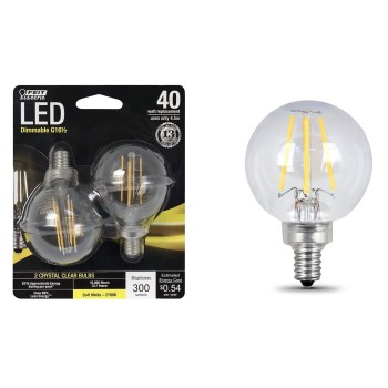 Candelabra Base LED Globe Bulbs ~ Dimmable