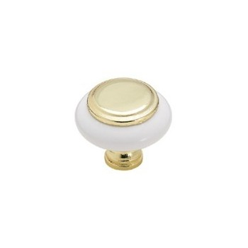 Knob - White with Polished Brass Inset - 1.25 inch