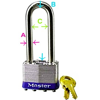 Tumbler Padlock, Laminated Steel Pin ~ 2 - 1/2""