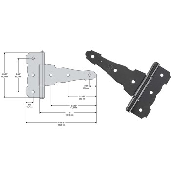 Ornamental/Reversible T Hinge, Black ~ 4""