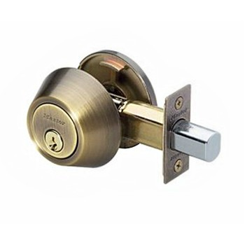Deadbolt ~ Single Cylinder,  K4 - Antique Brass Finish