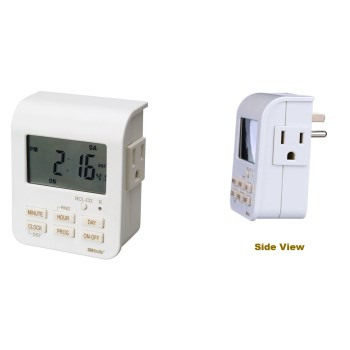 Woods Brand Indoor 7-Day Digital Timer,   3-Conductor 2-Outlet