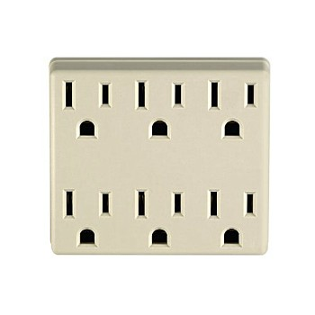 Adapter, 6 Outlets ~ Ivory