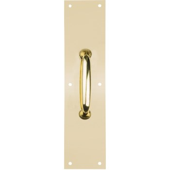 "Door Pull Plate, Brass Finish - 3 1/2"" x 15"""