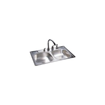 Sink, Double Bowl Stainless Steel 33 x 22 x 7