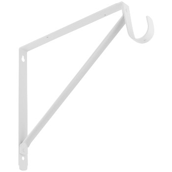 Shelf Rod Bracket, White - 12 inch