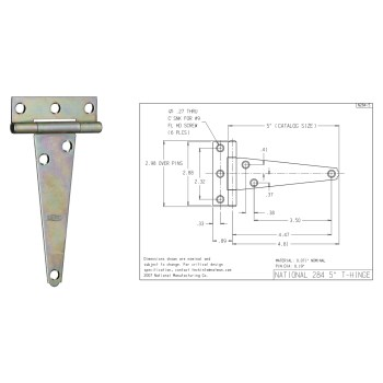 Light Duty T Hinges,  Zinc ~ 5""
